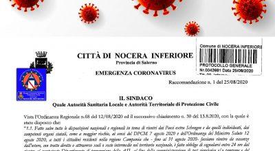 Raccomandazione del sindaco n.1 del 25/08/2020 in materia di prevenzione contagio da Coronavirus