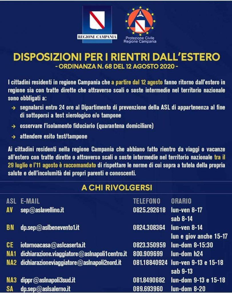 Disposizioni per i rientri dall'estero (Ord. n. 69 del 12 Agosto 2020)