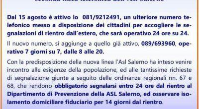 ASL Salerno: Segnalazione rientri dall'estero